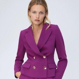 Zara Cropped Gold Button Blazer